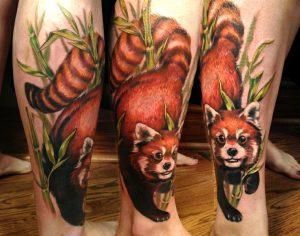 Vivid Red Panda Tattoo