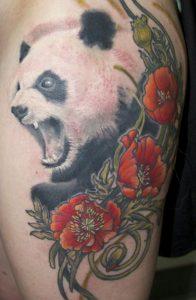 Mouth Open Panda Tattoo