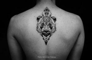 Geometric Cosmic Panda Tattoo