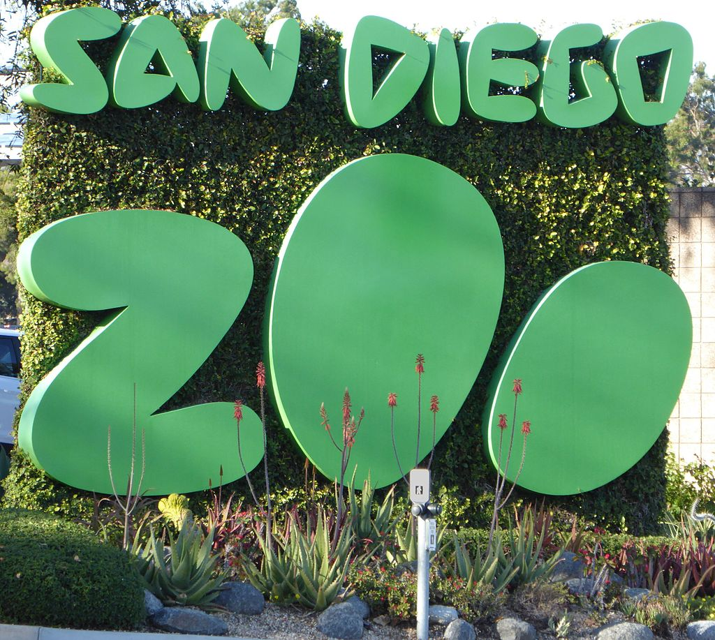 San Diego Zoo Sign: Renting giant pandas